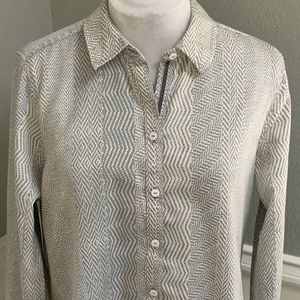 Foxcroft NYC Gray/White Patterned Button Up, Sz 16